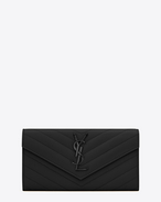 LARGE MONOGRAM SAINT LAURENT FLAP WALLET IN BLACK GRAIN DE POUDRE TEXTURED MATELASSÉ LEATHER