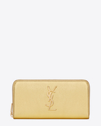 MONOGRAM SAINT LAURENT ZIP AROUND WALLET IN GOLD Metallic Grained LEATHER