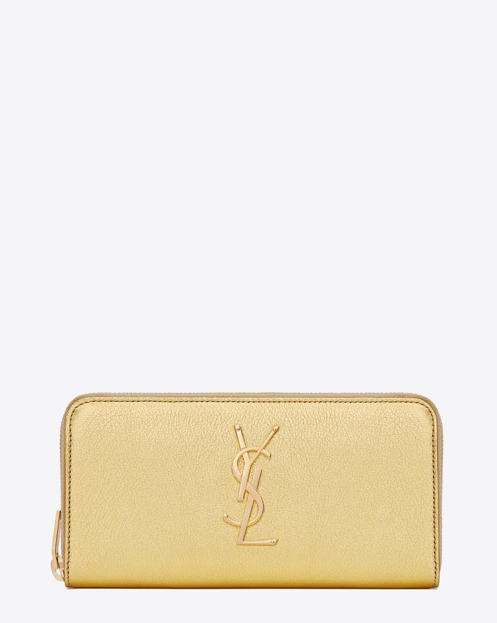 saint laurent monogram saint laurent zip around wallet in gold metallic grained leather