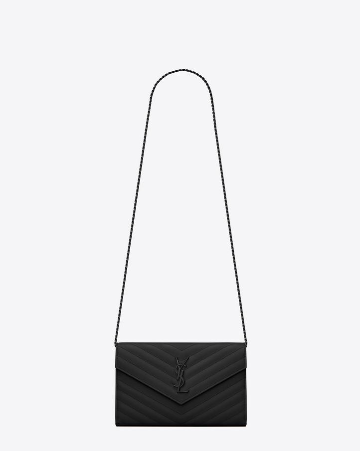 huge shoulder bag - Saint Laurent MONOGRAM SAINT LAURENT CHAIN WALLET IN Black GRAIN ...