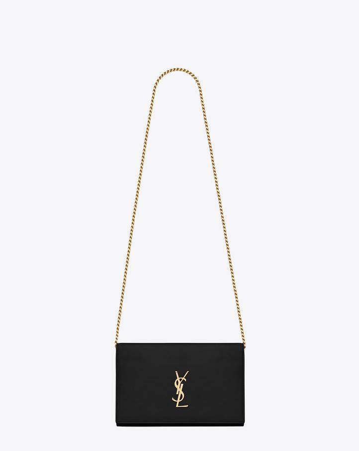 Saint laurent portefeuille monogramme en cuir noir avec for Porte carte ysl