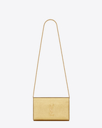 MONOGRAM SAINT LAURENT CHAIN WALLET IN Gold Metallic Grained Leather