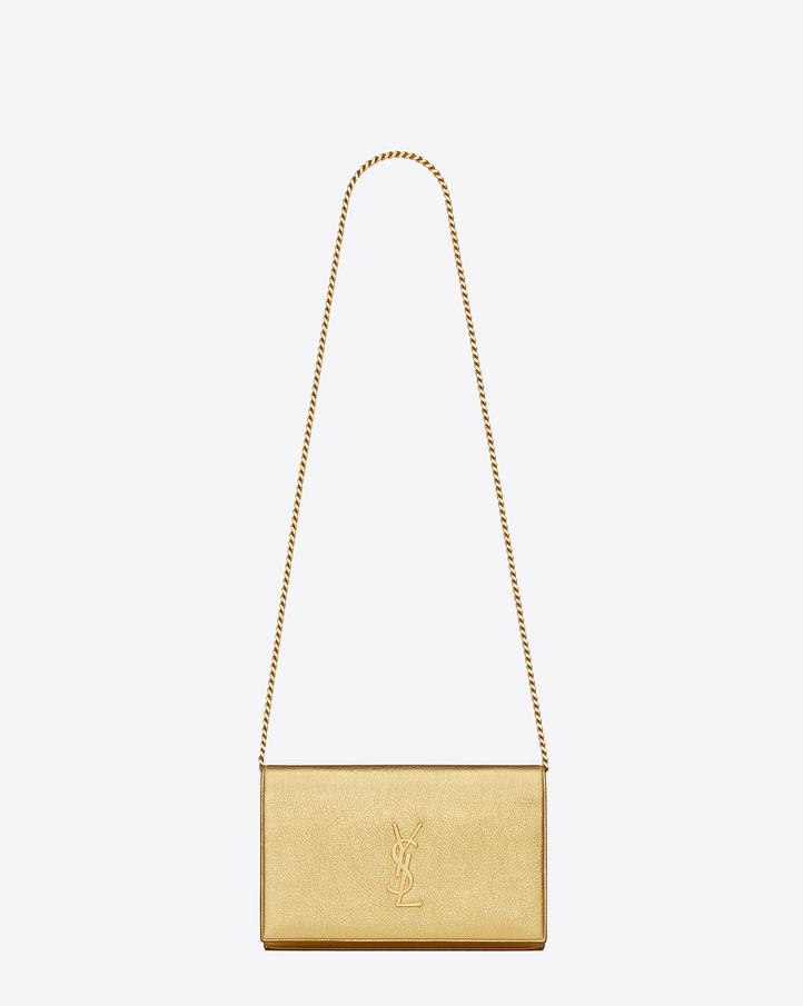 saint laurent monogram saint laurent chain wallet in gold metallic grained leather