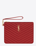 MONOGRAM SAINT LAURENT Pouch in Lipstick Red MATELASSÉ LEATHER