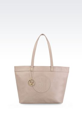 Armani Shoppers Women shopping bag in faux leather with charm