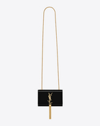 CLASSIC SMALL MONOGRAM SAINT LAURENT TASSEL SATCHEL IN BLACK PATENT LEATHER