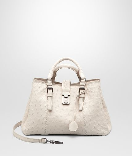Mist Sand Antique Ostrich Roma Bag