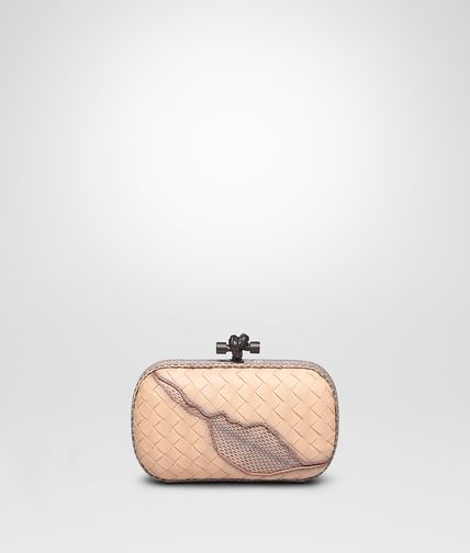KNOT CLUTCH IN FLAMINGO INTRECCIATO NAPPA WITH AYERS DETAILS