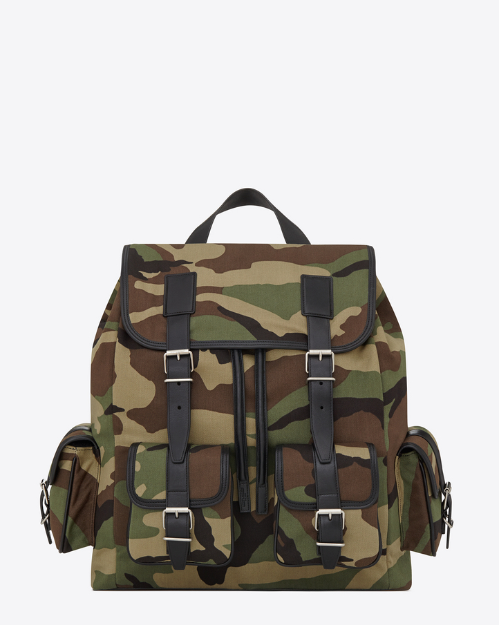 Saint Laurent ROCK BACKPACK IN Khaki Camouflage Printed Cotton ...
