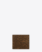 CLASSIC RIDER EAST/WEST WALLET WITH COIN POUCH IN IN TAN Leopard Printed Brushed LEATHER