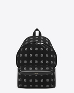 CLASSIC HUNTING BACKPACK IN Black, Grey and White Bandana Printed Nylon Canvas AND BLACK LEATHER