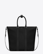 Toile Unie Saint Laurent NORTH/SOUTH TOTE nera in cotone cerato e tela di lino