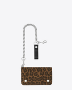 Rider Saint Laurent Chain Wallet in TAN Leopard Printed Brushed Leather