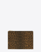 Custodia per tablet Mini Rider Saint Laurent MARRONE CHIARO IN pelle spazzolata con stampa Leopard