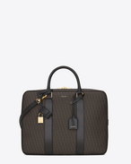 CLASSIC Toile Monogram Small Flat BRIEFCASE IN Black Printed Canvas and LEATHER