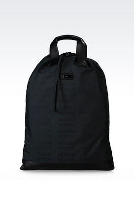 Armani Backpacks Men backpack in branded fabric