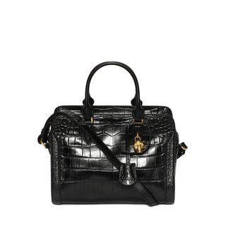 ALEXANDER MCQUEEN, Shoulder Bag, Stamped Crocodile Leather Small Padlock Zip Around
