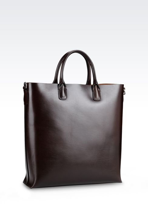 Giorgio Armani Men LARGE SHOPPING BAG IN SMOOTH CALFSKIN - Armani.com