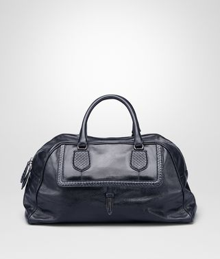 DARK NAVY SHINY LEATHER MICRO INTRECCIO KARUNG BAG