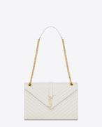 Classic large MONOGRAM SAINT LAURENT satchel in dove white grain de poudre textured matelassé leather