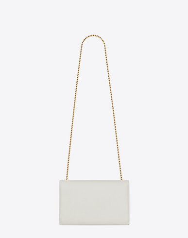 Classic Medium Monogram Saint Laurent Satchel In Dove White Grain De Poudre Textured Leather