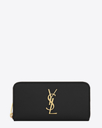 MONOGRAM SAINT LAURENT zip around wallet in black grain de poudre textured leather
