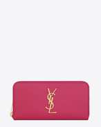 MONOGRAM SAINT LAURENT zip around wallet in lipstick fuchsia grain de poudre textured leather