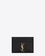 PORTE-CARTES MONOGRAMME SAINT LAURENT en cuir texturé grain-de-poudre noir