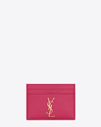 MONOGRAM SAINT LAURENT credit card case in lipstick fuchsia grain de poudre textured leather