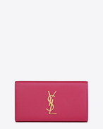 Large MONOGRAM SAINT LAURENT flap wallet in lipstick fuchsia grain de poudre textured leather