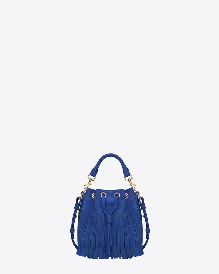 Saint Laurent Classic Small EMMANUELLE Fringed Bucket Bag In Blue ...