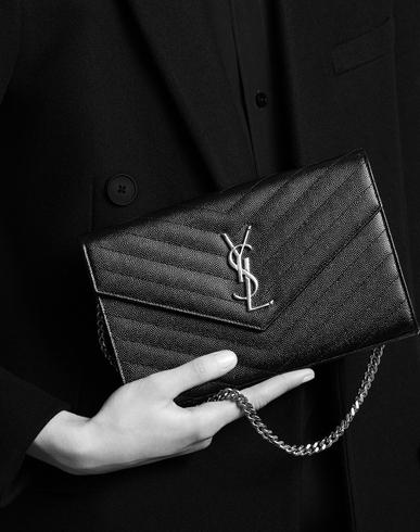 belle rose leather purse - SAINT LAURENT Monogram Envelope Chain Wallet In Powder Grain De ...