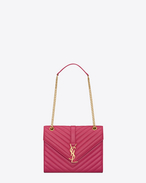 Classic medium MONOGRAM SAINT LAURENT satchel in Lipstick fuchsia matelassé leather
