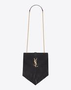 Petit satchel à franges Monogramme SAINT LAURENT en suède noir