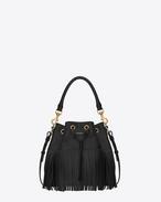 Classic medium EMMANUELLE fringed bucket bag in Black Leather