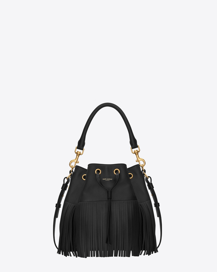 Classic medium EMMANUELLE fringed bucket bag in Black Leather