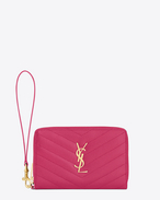 MONOGRAM SAINT LAURENT phone wallet in lipstick fuchsia grain de poudre textured matelassé leather