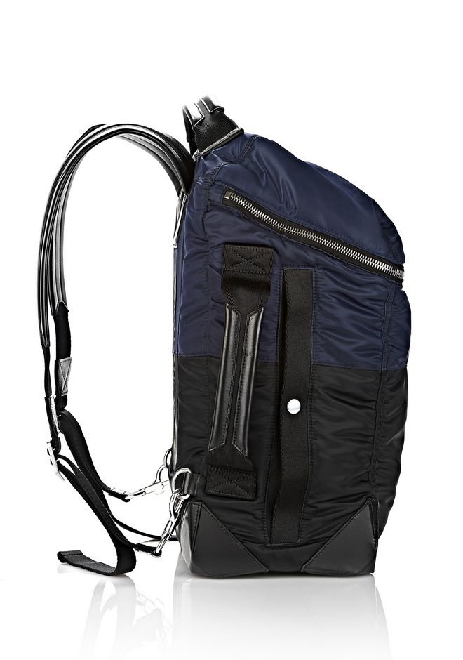 Wallie Backpack Bomber In Navy Nylon With Silver