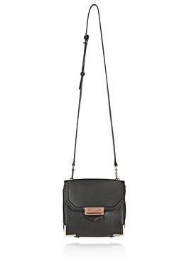 MARION SLING IN PEBBLED BLACK WITH ROSE GOLD