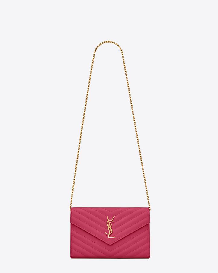 Saint Laurent Classic Monogram Saint Laurent Clutch In Fuchsia Grain De Poudre Textured Leather