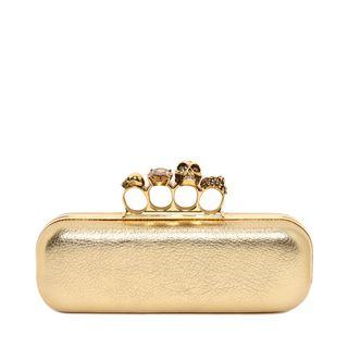 ALEXANDER MCQUEEN, Pouch, Metallic Grainy Leather Knuckle Box Clutch