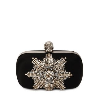 ALEXANDER MCQUEEN, Pouch, Satin Star Embroidered Classic Skull Box Clutch