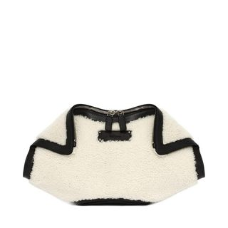 ALEXANDER MCQUEEN, Pouch, Shearling and Small Grainy Calf Leather De Manta Clutch