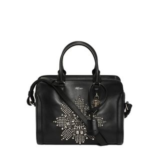 ALEXANDER MCQUEEN, Shoulder Bag, Classic Soft Calf Leather and Studded Small Padlock Zip Around