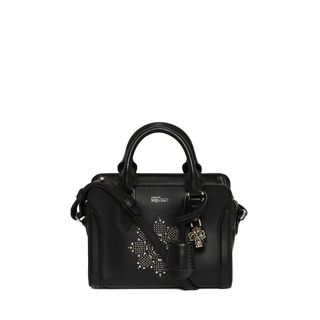 ALEXANDER MCQUEEN, Shoulder Bag, Classic Soft Calf Leather and Studded Mini Padlock
