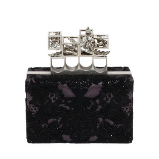 ALEXANDER MCQUEEN, Pouch, Embroidered Silk Poppy Cage Knuckle Box Clutch