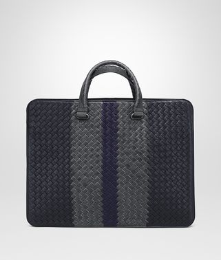 NEW DARK NAVY ARDOISE ATLANTIC INTRECCIATO CLUB BRIEFCASE