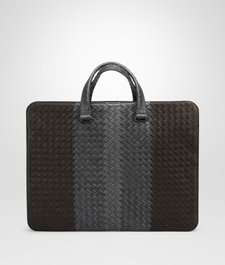 ESPRESSO ARDOISE NEW LIGHT GREY INTRECCIATO CLUB BRIEFCASE