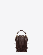 SMALL EMMANUELLE Fringed BUCKET BAG IN Bordeaux LEATHER