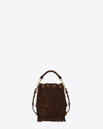 SMALL EMMANUELLE Fringed BUCKET BAG IN Brown Suede